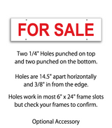 "6"" x 24"" Real Estate Sign rider with 4 holes saying ""FOR SALE"" in red print"
