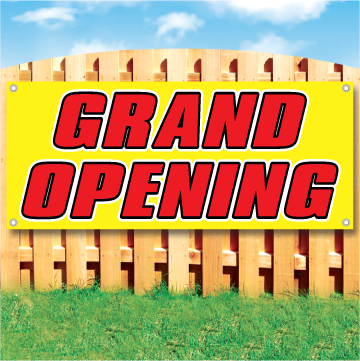 Wood fence displaying a banner saying 'GRAND OPENING' in red text on a yellow background