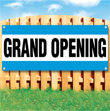 Wood fence displaying a banner saying 'GRAND OPENING' in black text on a white background with top and bottom blue stripes