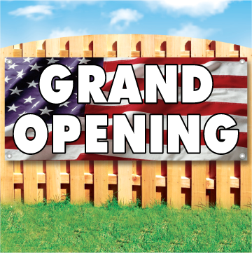 Wood fence displaying a banner saying 'GRAND OPENING' in white text on a american flag background