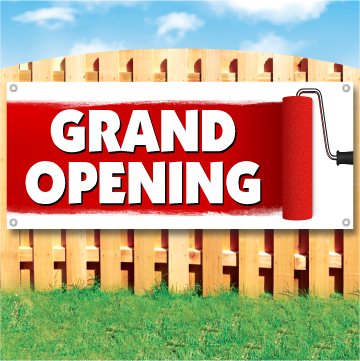 Wood fence displaying a banner saying 'GRAND OPENING' in white text on red paint background with large paint roller