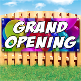 Wood fence displaying a banner saying 'GRAND OPENING' in white text on a party balloons background