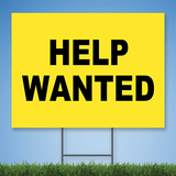 Coroplast Yard Sign with black text 'HELP WANTED' on yellow background