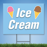 Coroplast Yard Sign with white text 'Ice Cream' with pictures of ices cream on blue background