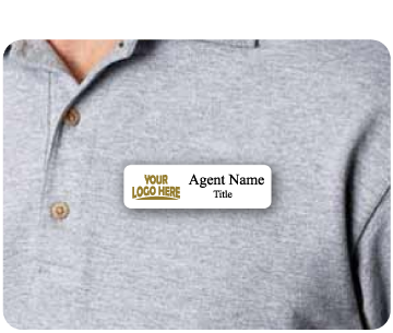 Name badge with 'Your logo and agent name' displayed on agent shirt