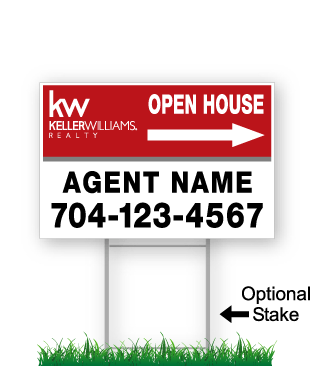 corrugated directional sign with optional stake stating 'keller williams realty open house'