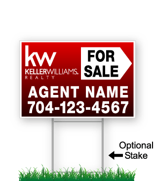 corrugated directional sign with optional stake stating 'keller williams realty for sale'