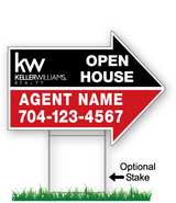 "18"" x 24"" Keller Williams Realty arrow shaped green sign saying ""Open House, agent name and phone #"". Optional sign stake"
