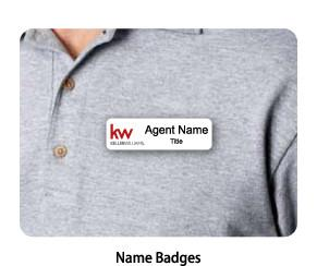 Name badge with Keller Williams Realty logo and agent name displayed on agent shirt