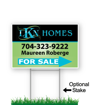 corrugated directional sign with optional stake stating 'LKN Homes realty for sale'