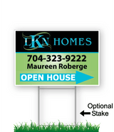 corrugated directional sign with optional stake stating 'LKN Homes realty open house'