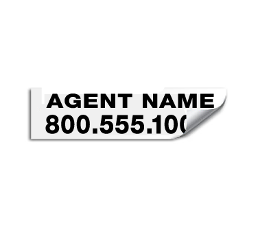 Vinyl rider sticker saying 'agent name and phone number'