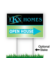 corrugated directional sign with optional stake stating 'LKN Homes open house'