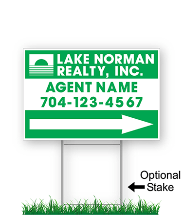 corrugated directional sign with optional stake stating 'lake norman realty'