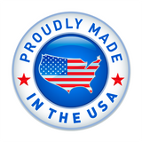 Red, White & Blue Logo saying ' proudly made in the USA'