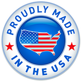 symbol with american flag saying 'proudly made in the USA'