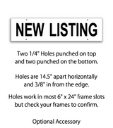 "6"" x 24"" real estate sign rider with 4 holes saying ""NEW LISTING"" in black print"