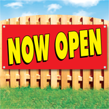 Wood fence displaying a banner saying 'Now Open' in yellow text on a red background