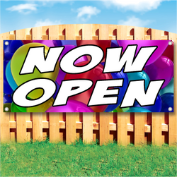Wood fence displaying a banner saying 'Now Open' in white text on a party balloon background