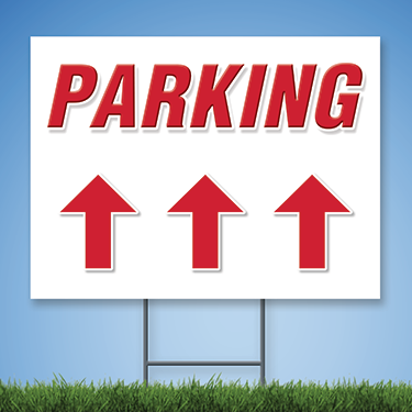 Parking Yard Sign w/ Straight Arrow (R&W)