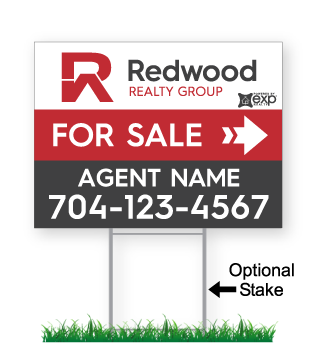 corrugated directional sign with optional stake stating 'Redwood realty group for sale'