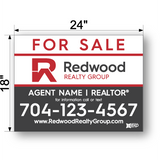 "18"" x 24"" redwood realty sign panel saying for sale, agent name and phone number"