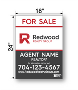 "24"" x 18"" redwood realty sign panel saying for sale, agent name and phone number"