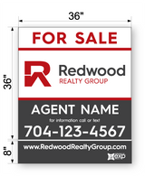 "Redwood Commercial Sign - 44"" x 36"""