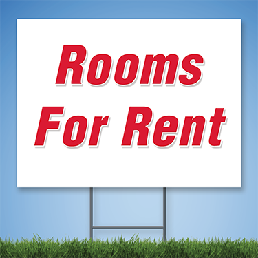 Coroplast Yard Sign with red text 'Rooms for Rent'