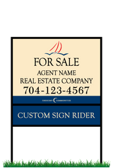 "18"" x 24"" Sailview neighborhood sign & frame saying ""For Sale, Real Estate Company, Agent & Phone #"" & sign rider"