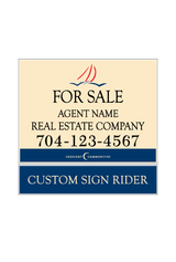 "18"" x 24"" Sailview neighborhood sign saying ""For Sale, Real Estate Company, Agent & Phone #"" & sign rider"