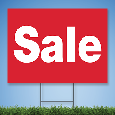 Coroplast Yard Sign with white text 'Sale' on red background