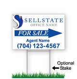 corrugated directional sign with optional stake stating 'SELLSTATE realty for sale'
