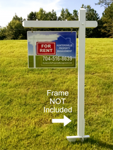 "Picture of 18"" x 24"" aluminum real estate sign saying ""For Rent, property management with phone number"". Shown with real estate frame, sold separately"