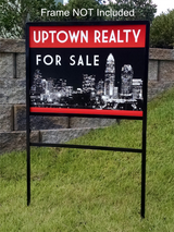 "Picture of 18"" x 24"" aluminum real estate sign saying ""uptown realty for sale"". Shown with real estate frame, sold separately"