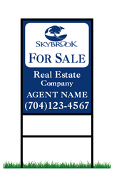 "24"" x 18"" neighborhood sign saying ""Skybrook, For Sale, Real Estate Company, Agent & Phone #"""