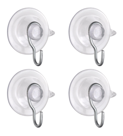 four clear rubber suction cups with j hooks for hanging