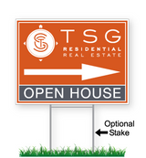 TSG Residential Yard Sign 'Open House' with directional arrow and optional wire stake