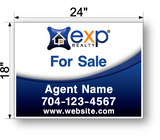 "18"" x 24"" exp realty sign panel saying for sale, agent name and phone number"