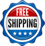 symbol in red, white and blue with 4 stars saying 'free shipping'