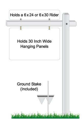 Single Arm hanging sign frame powder coated white with ground stake