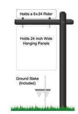 Single Arm hanging sign frame powder coated black with ground stake