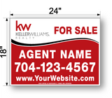 "18"" x 24"" keller williams sign panel saying for sale, agent name and phone number"