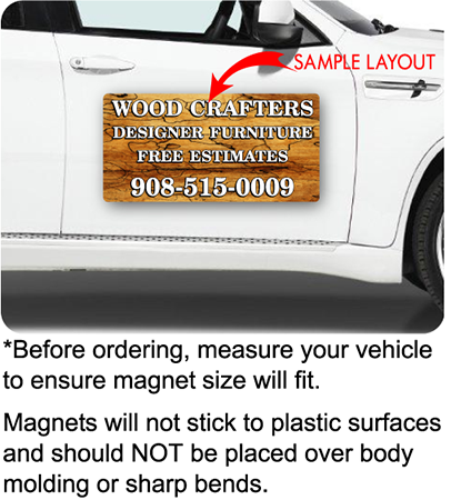 vehicle car door displaying a full  color car magnet