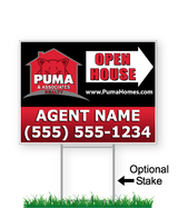 corrugated directional sign with optional stake stating 'PUMA realty open house'