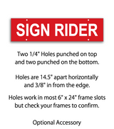 "Sign rider with 4 holes saying ""Sign Rider"" in white print on red background"