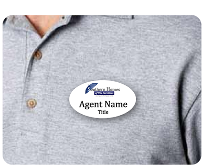 Name badge with Southern Homes logo and agent name displayed on agent shirt