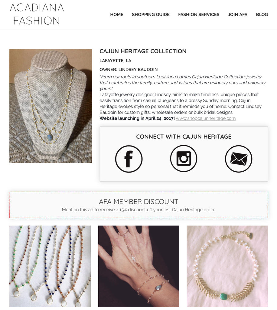 Acadiana Fashion Alliance - Cajun Heritage Collection Spotlight Page