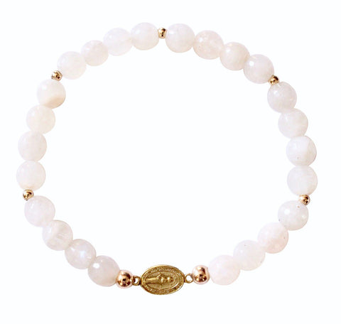 Gold Fill Moonstone Rosary Beaded Bracelet
