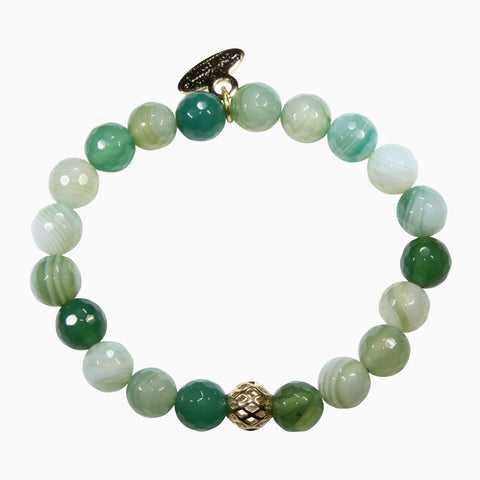 8mm Sea Green Banded Agate Bracelet